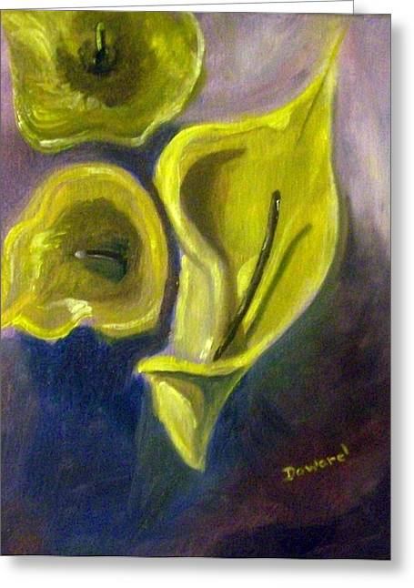 Greeting Card featuring the painting Calla Lilies by Raymond Doward