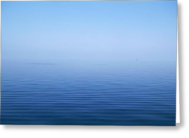 Calm Blue Water Disappearing Into Greeting Card by Axiom Photographic