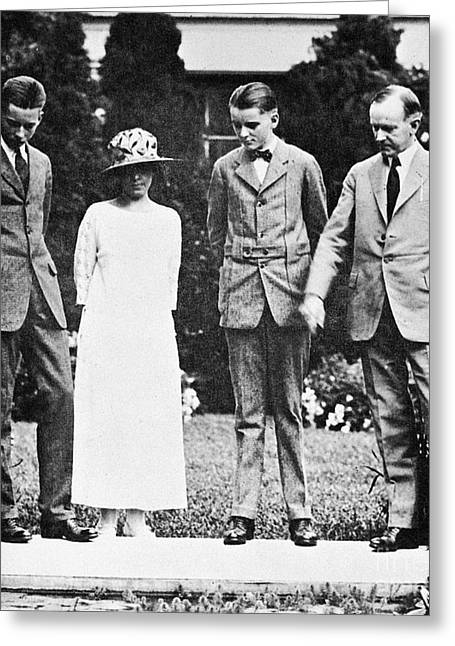 Calvin Coolidge & Family Greeting Card by Granger
