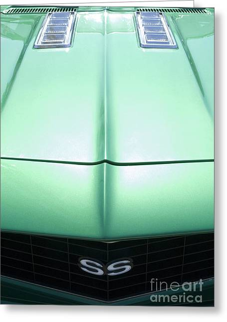 Camaro Ss Hood And Grill Greeting Card by Bob Christopher