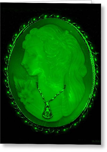 Cameo In Green Greeting Card by Rob Hans