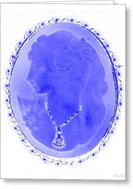 Cameo In Negative Blue Greeting Card by Rob Hans