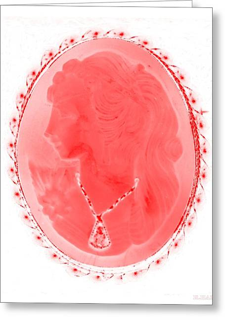 Cameo In Negative Red Greeting Card by Rob Hans
