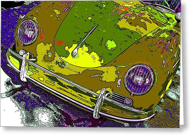 Camouflaged Porsche 356 Greeting Card by Samuel Sheats