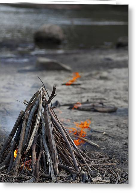 Greeting Card featuring the photograph Camp Fire by Carole Hinding