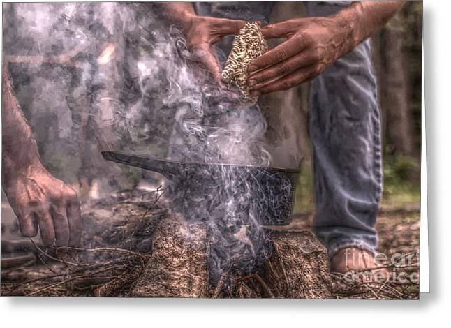 Campfire Hands Greeting Card by The Stone Age