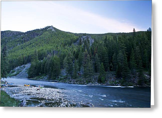 Camping On The Middle Fork Greeting Card by Drew Rush