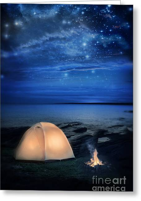 Camping Tent By The Lake At Night Greeting Card by Jill Battaglia