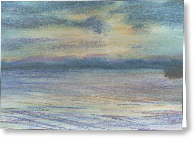 Greeting Card featuring the pastel Campout On Golden Beach by Denny Morreale