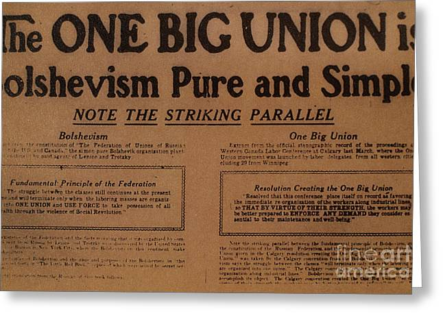 Canada: One Big Union, 1919 Greeting Card by Granger