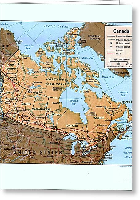 Canada Relief Map Greeting Card by Pg Reproductions