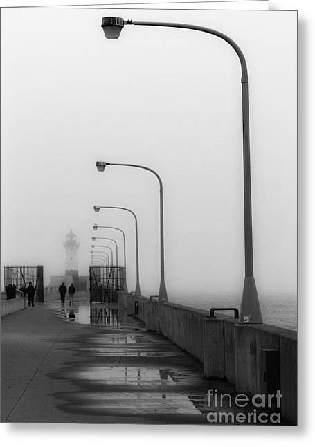 Canal Park Lighthouse In Fog Greeting Card by Mark David Zahn