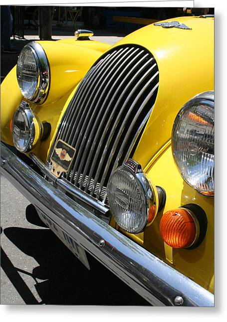 Canary Yellow Morgan Sportscar Greeting Card by Alan Rutherford