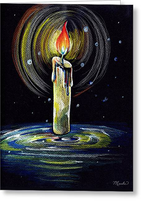 Candel On The Water  Greeting Card by Nada Meeks