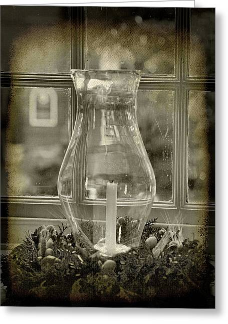 Candle And Window Greeting Card by Steven Ainsworth