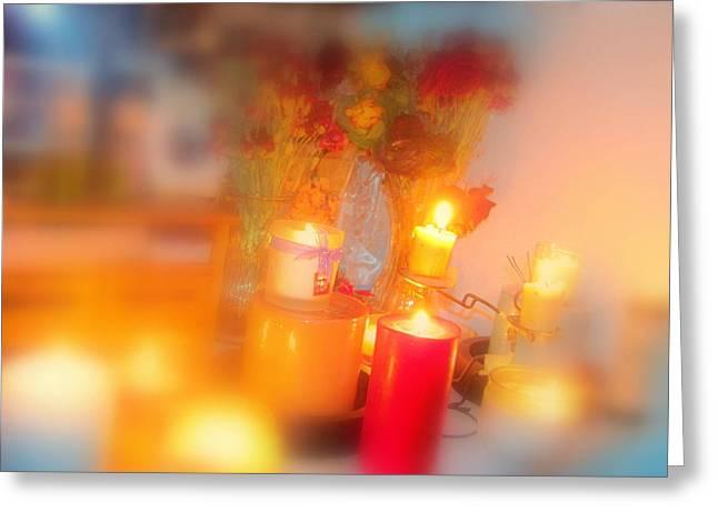 Candle Llight Greeting Card by Amy Bradley