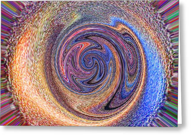 Greeting Card featuring the painting Candy Stripe Planet by Richard James Digance