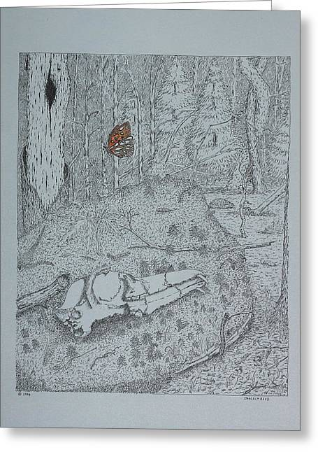 Greeting Card featuring the drawing Canine Skull And Butterfly by Daniel Reed