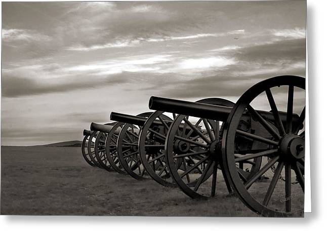 Cannon At Antietam Black And White Greeting Card by Judi Quelland