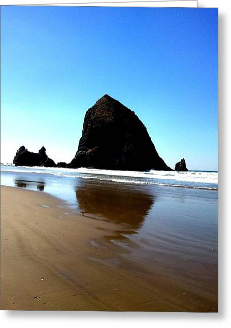Cannon Beach Blue Greeting Card by J Von Ryan