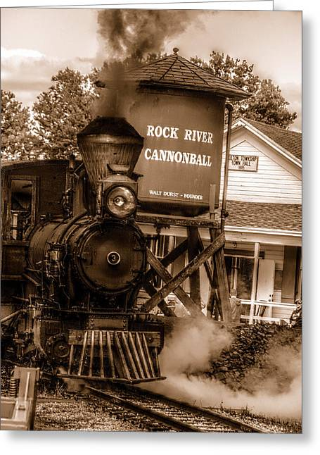 Cannonball Express In Sepia Greeting Card by Janice Adomeit