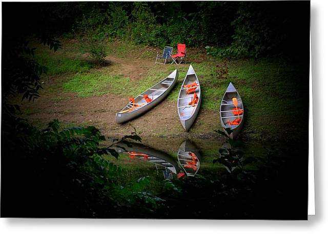 Canoe Bank Greeting Card by Michael L Kimble