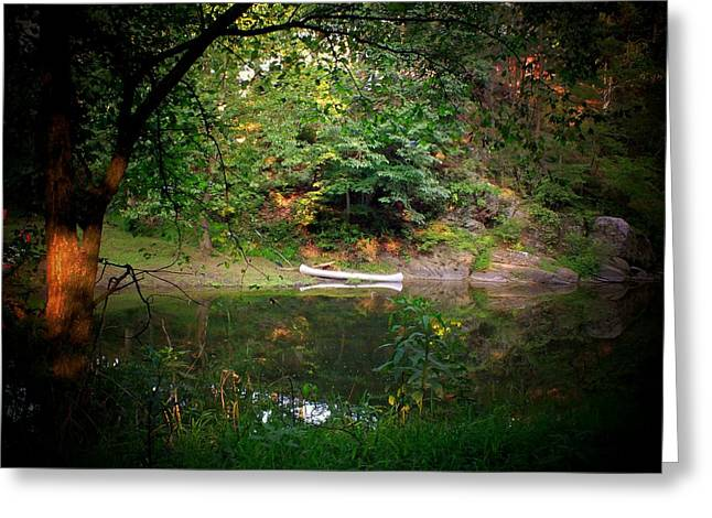 Canoe On Cacapon Greeting Card by Michael L Kimble