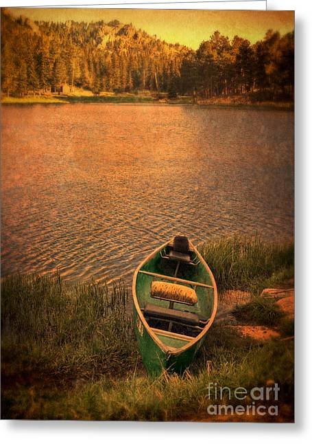 Canoe On Lake Greeting Card by Jill Battaglia