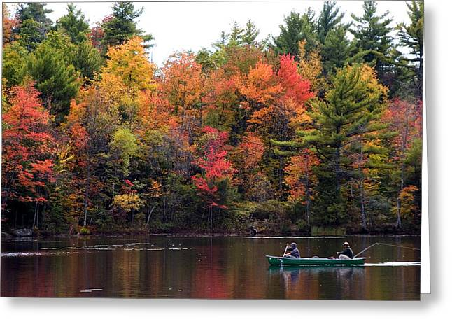 Canoeing In Autumn Greeting Card by Larry Landolfi