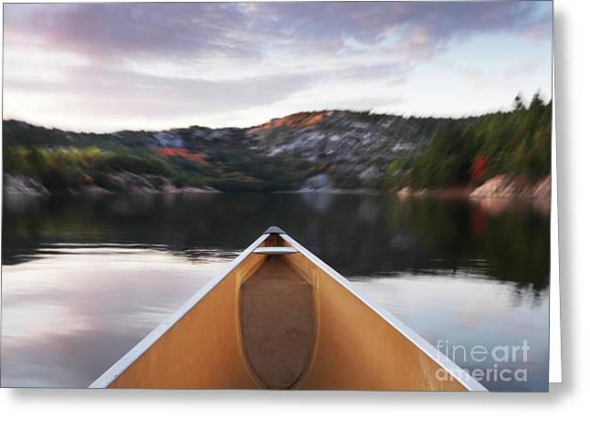 Canoeing In Ontario Provincial Park Greeting Card by Oleksiy Maksymenko
