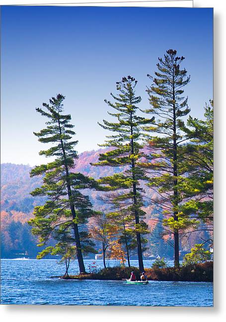Canoeing On The Lake Greeting Card