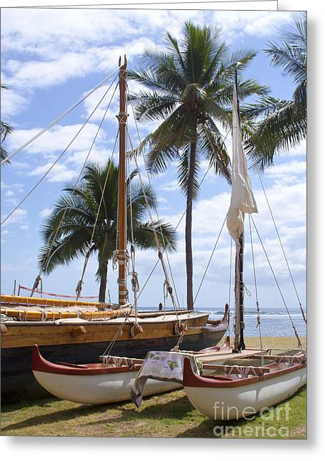 Canoes At Hui O Waa Lahaina Maui Hawaii Greeting Card