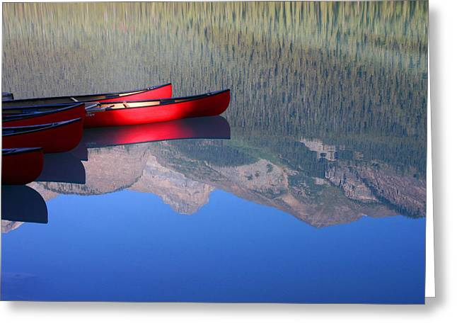 Canoes In The Rockies Greeting Card by Steve Parr