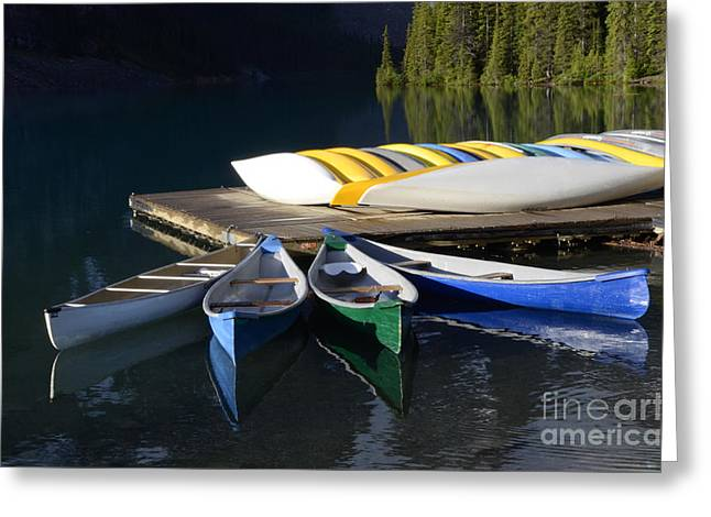 Canoes Morraine Lake 2 Greeting Card by Bob Christopher