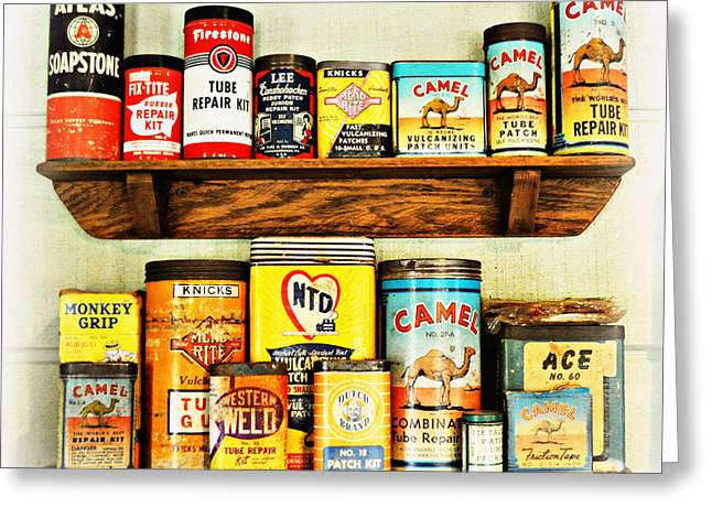 Cans Of Old Greeting Card by Marty Koch