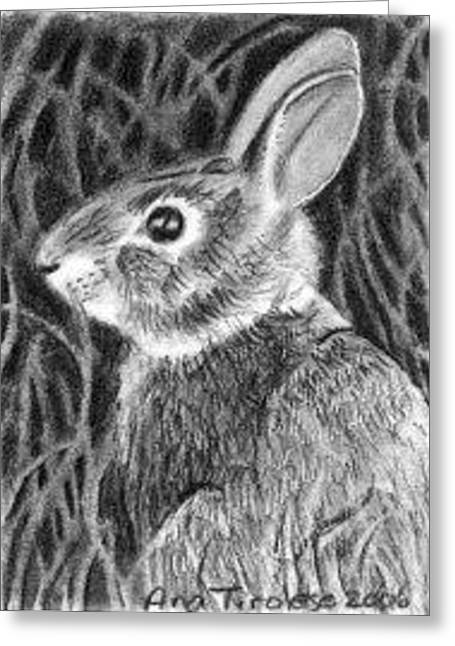 Greeting Card featuring the drawing Can't See Me - Aceo by Ana Tirolese