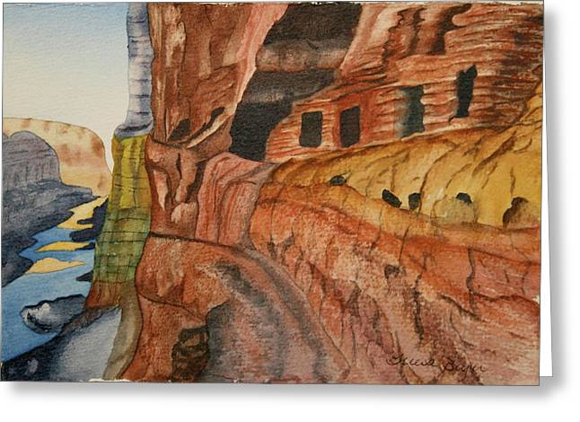 Greeting Card featuring the painting Canyon De Chilly by Teresa Beyer
