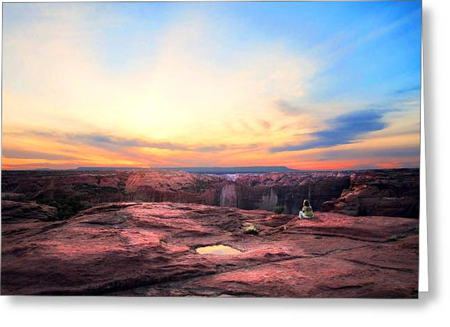 Canyon Sunset Greeting Card by Ric Soulen
