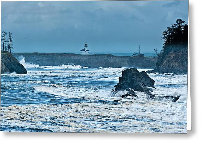 Cape Arago Light House Greeting Card by Alvin Kroon
