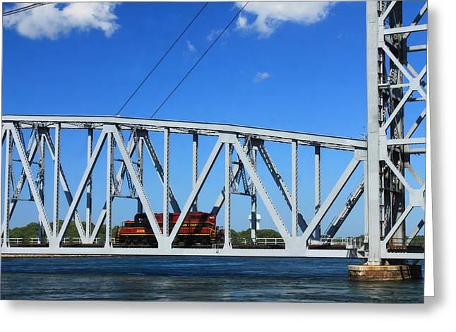Cape Cod Canal Railroad Bridge Locomotive Greeting Card