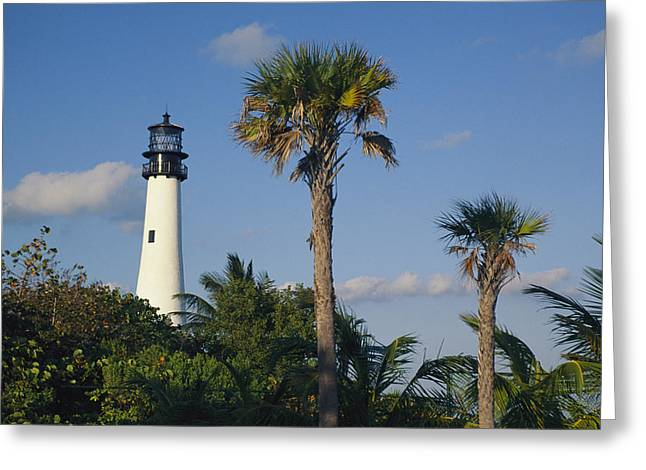 Cape Florida Lighthouse At Bill Baggs Greeting Card