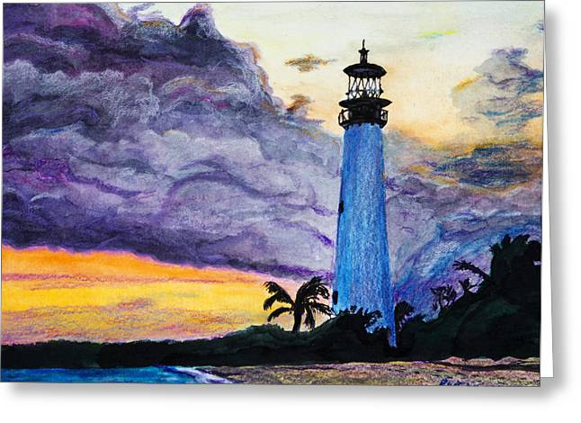 Cape Florida Lighthouse Greeting Card by Roger Wedegis