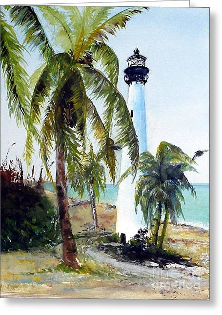 Cape Florida Lighthouse Greeting Card by Sibby S
