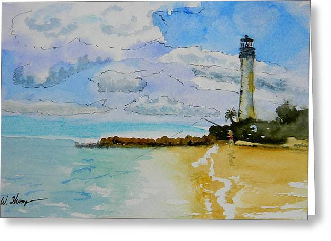 Cape Florida Lighthouse Greeting Card by Warren Thompson