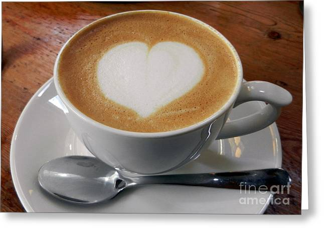 Cappuccino With A Heart Greeting Card by Alexandra Jordankova