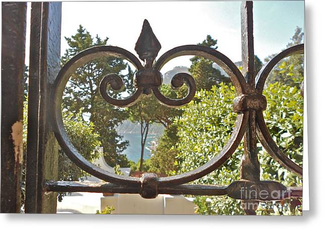Capri Through Gate Greeting Card