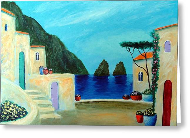 Capri Villa Greeting Card by Larry Cirigliano