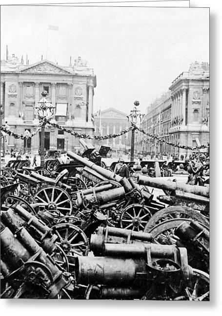 Captured German Guns At Palace De La Concorde In Paris - France Greeting Card by International  Images