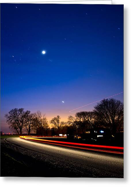 Car And Plane Under Venus Greeting Card by Cale Best