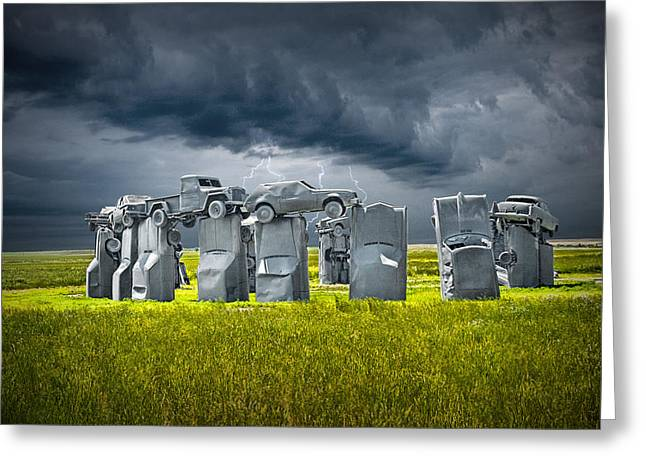 Olive Green Greeting Cards - Car Henge in Alliance Nebraska after Englands Stonehenge Greeting Card by Randall Nyhof